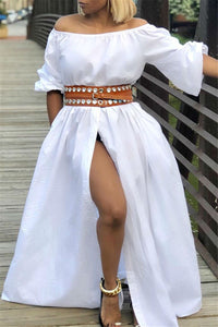 Off Shoulder High Split Maxi Dress