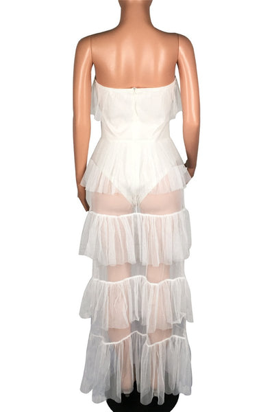 Strapless Net Yarn Splicing Romper Dress - ezcute