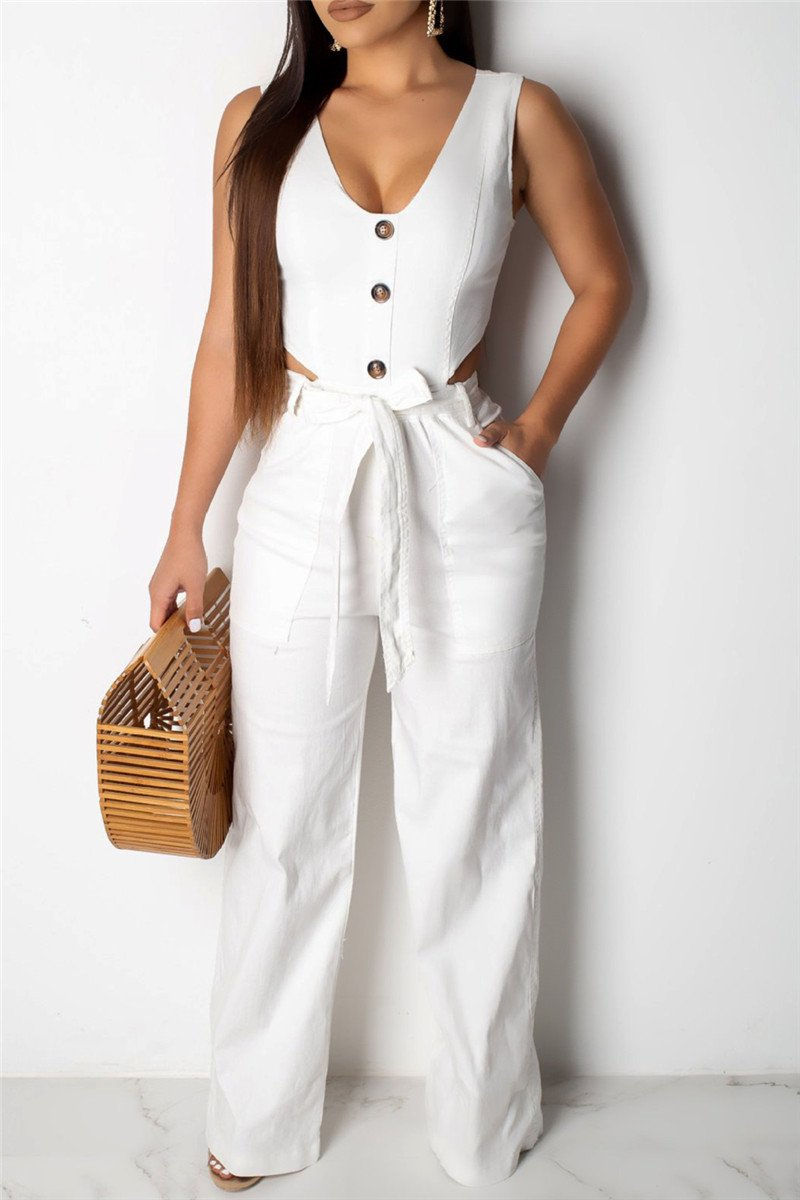 Solid Color Button Jumpsuit - ezcute