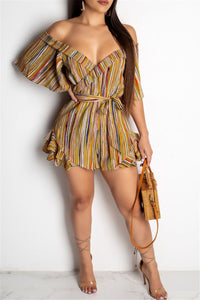 Striped Printed Wrap Romper - ezcute