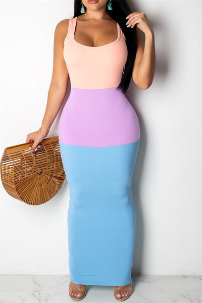 Color Splicing Cami Maxi Dress - ezcute