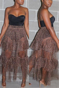 Leopard Printed Net Yarn Sheer Skirt - ezcute