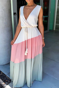 Color Splicing V Neck Maxi Dress - ezcute