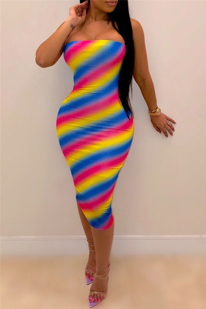 Strapless Stripe Printed Dress - ezcute