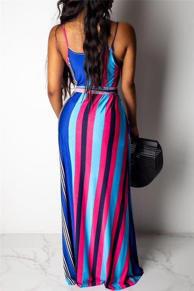Stripe Cami Maxi Dress With Pockets - ezcute