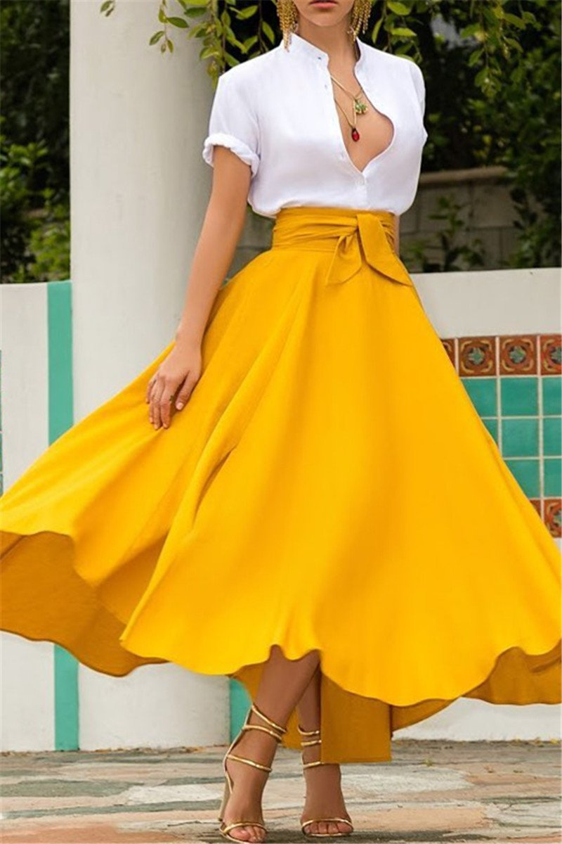 Casual Solid Color Wrap Skirt - ezcute