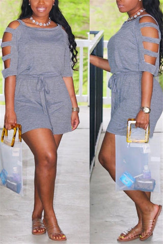 Hollow Out Sleeve Ruched Romper