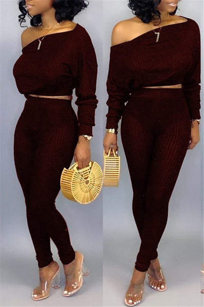 Skew Neck Long Sleeve Top & Pants - ezcute