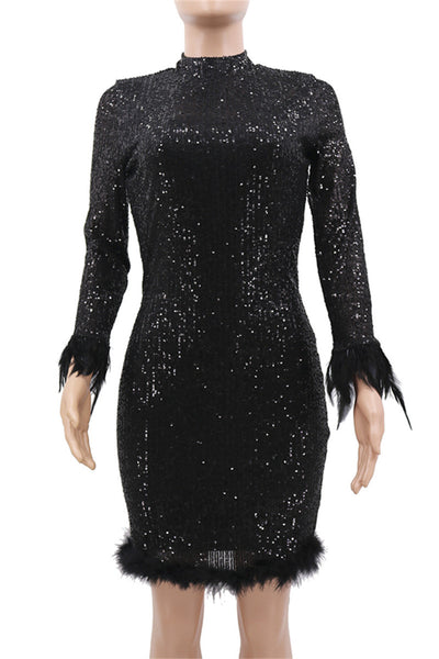 Sequins Feather Splicing Party Dress