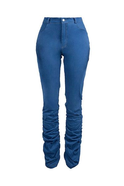 Solid Color Pile Denim Pants - ezcute