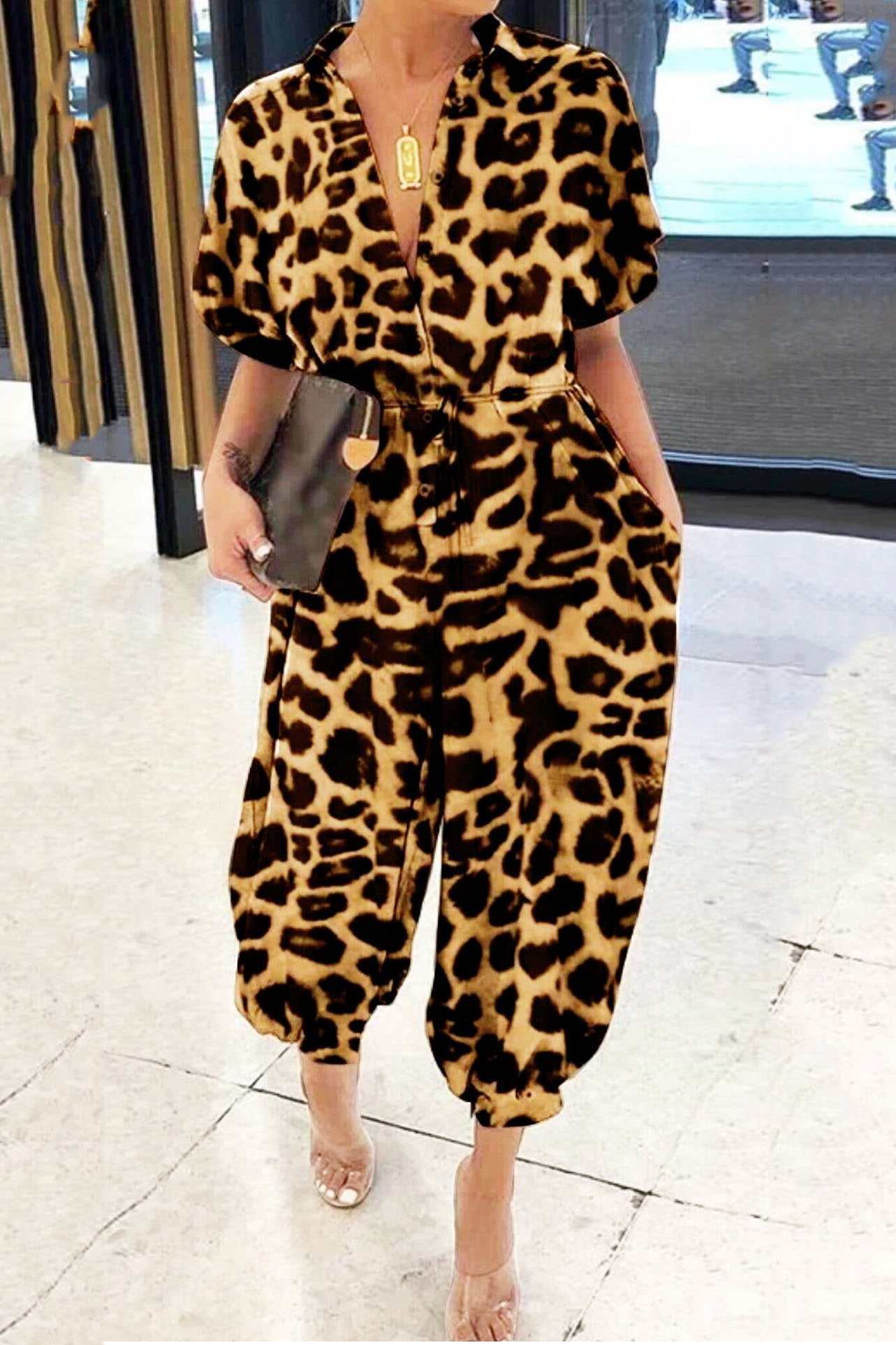 Casual Leopard Printed Jumpsuit