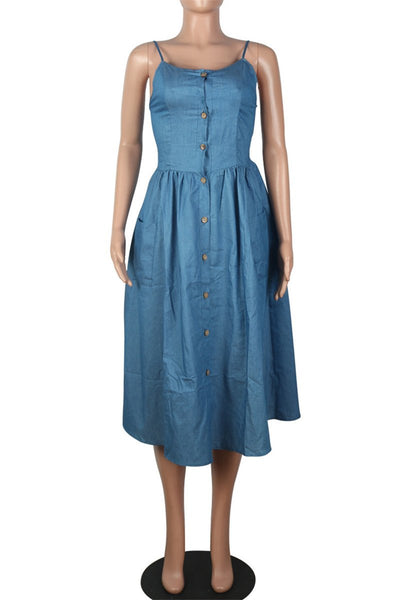 Button Front Cami Denim Dress