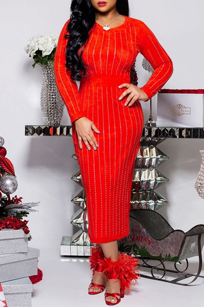 Plus Size Hot Stamping Maxi Dress