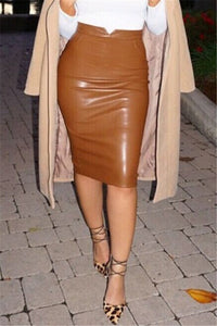 Solid Color PU Leather Skirt - ezcute