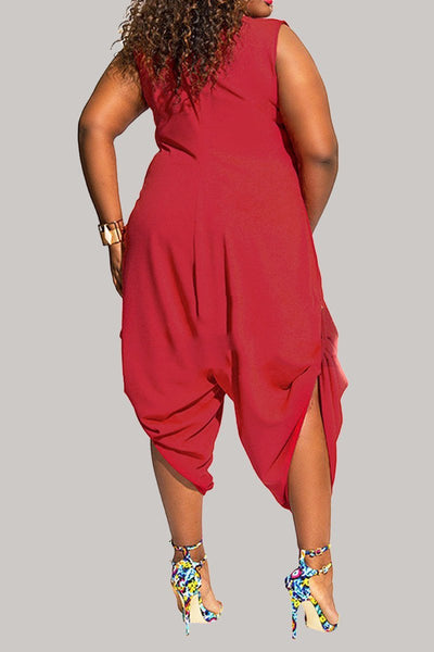 Solid Sleeveless Plus Size Jumpsuit - ezcute