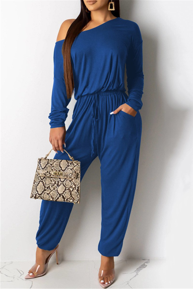 Casual Solid Color Drawstring Jumpsuit - ezcute