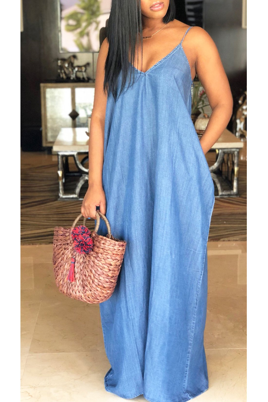 Relax Denim Maxi Dress - ezcute