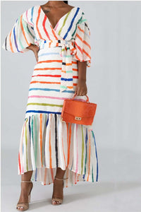 Lantern Sleeve Striped Dress With Belt - ezcute