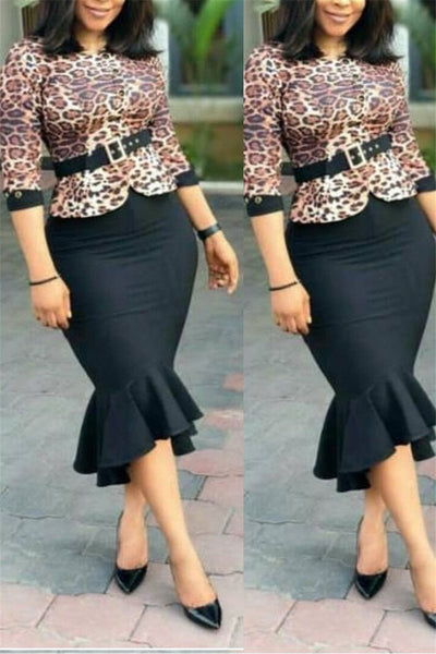 Leopard Printed Fishtail Midi Dress - ezcute
