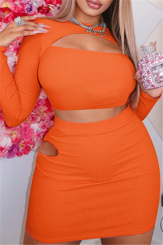 Hollow Out Two Piece Skirt Sets