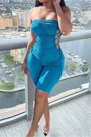Bandage Side Strapless Bodycon Romper