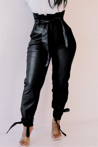 Solid Color Leather Bandage Pants