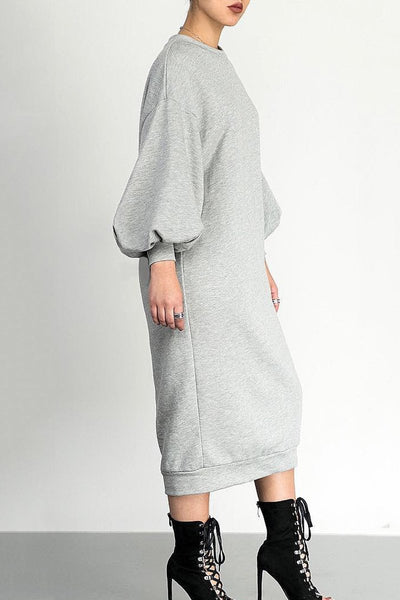 Puff Sleeve Sweater Dress - ezcute