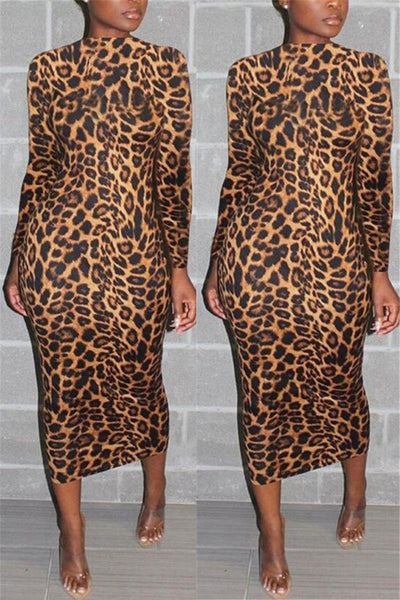 High Collar Leopard Printed Maxi Dress - ezcute