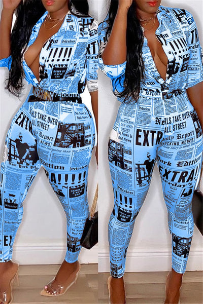Plus Size Newspaper Printed Sets - ezcute