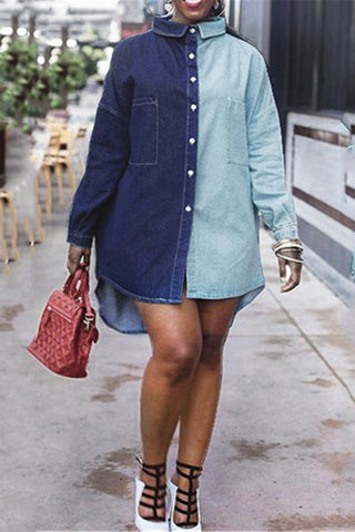 Color Splicing Denim Shirt Dress - ezcute