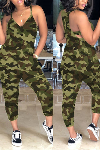 Plus Size Camo Printed Jumpsuit