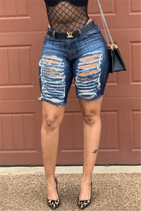 Distressed Hollow Out Denim Shorts - ezcute