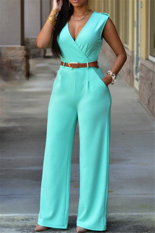 Deep V Wide Leg Jumpsuit - ezcute