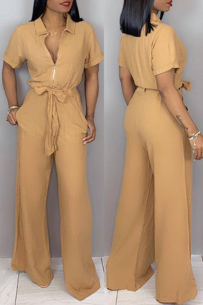 Solid Color Zipper Jumpsuit With Belt - ezcute