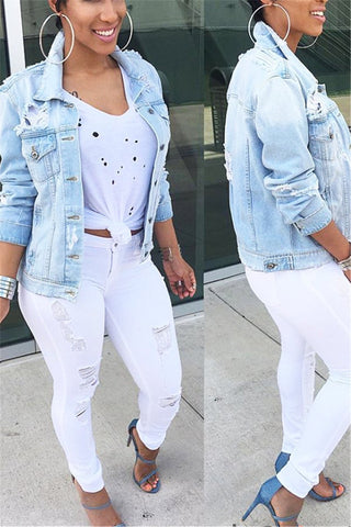 Pale Blue Distressed Denim Jacket - ezcute