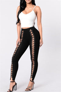 Lace Up Front Pants - ezcute