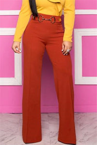 Solid Color Belt Splicing Pants - ezcute