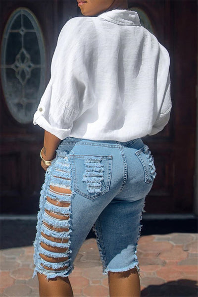 Cotton Distressed Hollow Out Denim Shorts