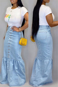 Button Front Fishtail Denim Skirt - ezcute