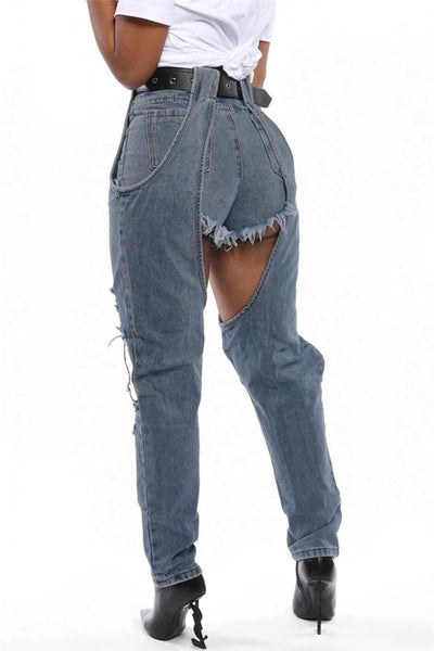 Hollow Out Shorts Splicing Denim Pants - ezcute