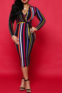 Rainbow Striped Midi Dress - ezcute