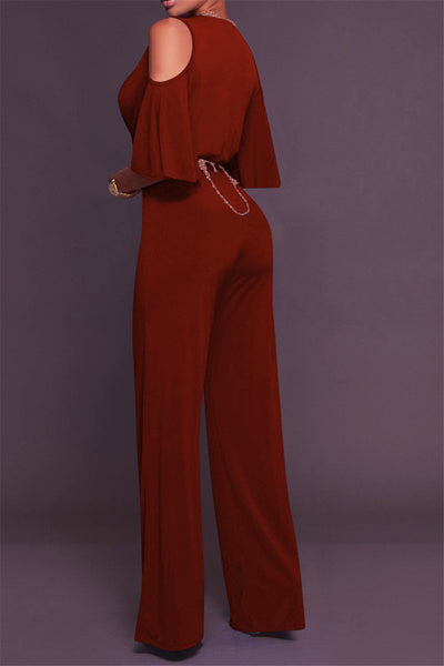 Belted Cold Shoulder Jumpsuit - ezcute