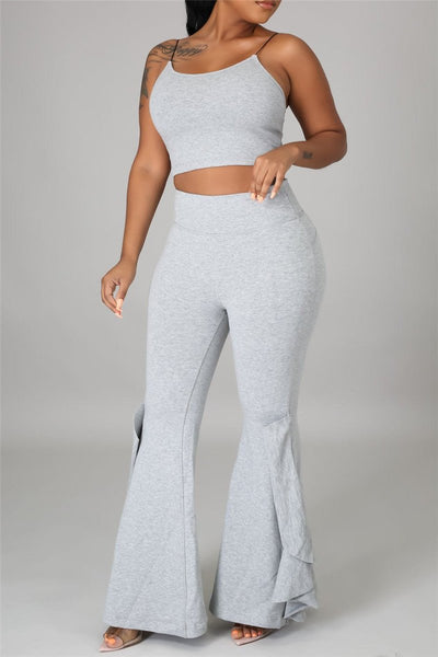 Cami Crop Top with Flounce Flared Pants Sets