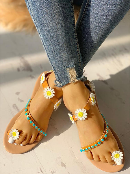 Flower Embellished Stud Detail Flat Sandals - ezcute