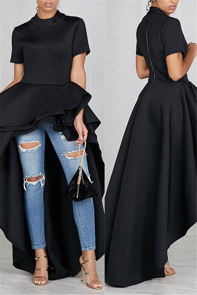 High Collar Irregular Hem Dress - ezcute