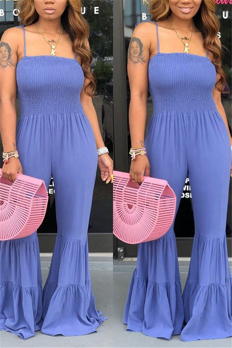 Solid Color Flares Smocked Jumpsuit - ezcute