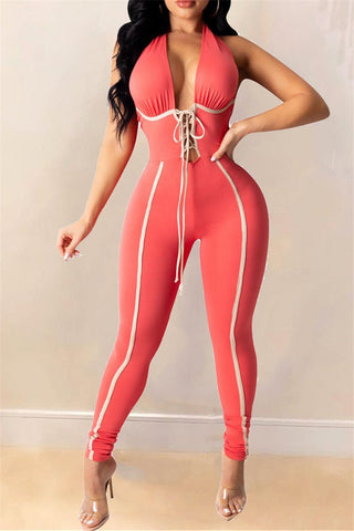 Bandage Front V-Neck Backless Halter Jumpsuit