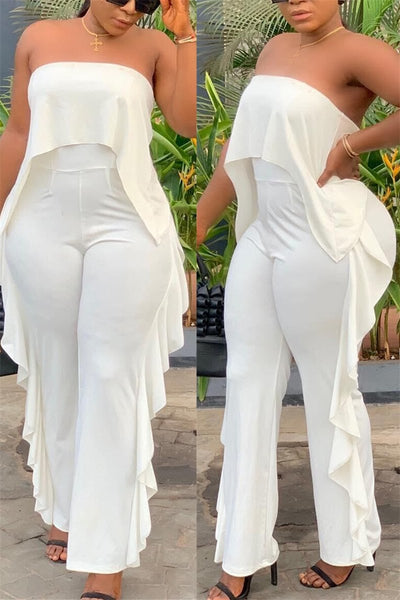 Solid Color Strapless Ruffle Jumpsuit - ezcute