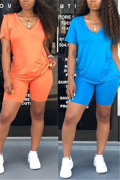 Solid Color V Neck Two PC Sets - ezcute