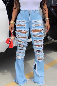 Hollow Out Distressed Jeans